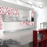 """Кухонный гарнитур """"Кристалл"""" в красном цвете"""